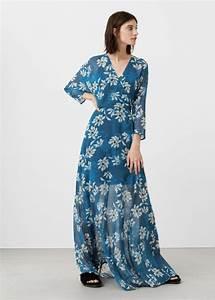 robe mango longue cache coeur bleu fluide la robe longue With robe cache coeur mango
