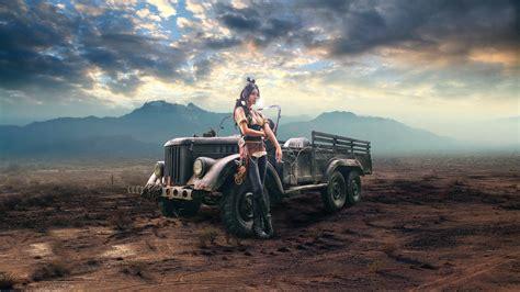 Girl And Car, Cigarette, Steampunk, Retro Style Wallpaper