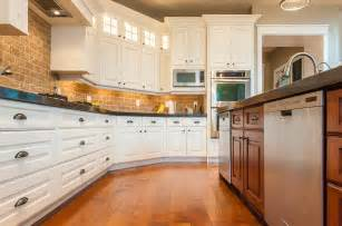 white kitchen cabinets backsplash kitchen white cabinets brick backsplash radiant remodeling llc of oak harbor oh