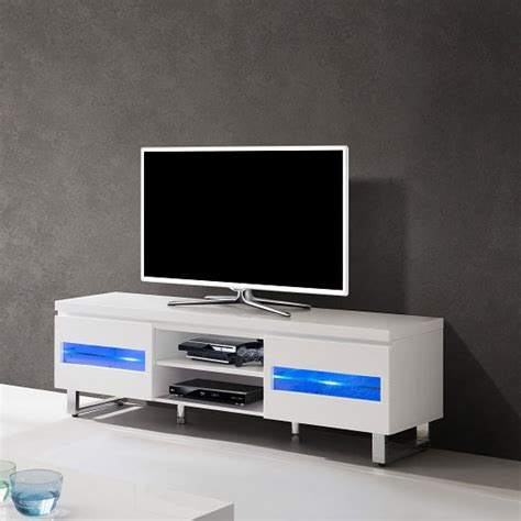 zedan lcd tv stand in white gloss with led lights 23846