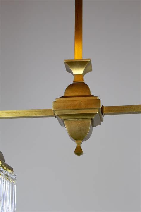 mission style crystal fixture circa  satin brass