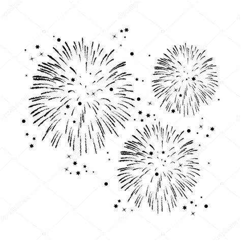 vector black  white fireworks background stock vector