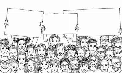 Holding Signs Diverse Empty Drawn Vector Hand