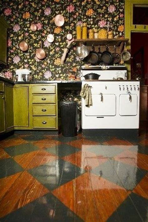 boho kitchen  dark floral wallpaper   eclectic