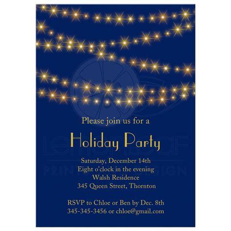 invitation gold twinkle lights on navy blue