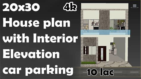 20x30 House plan with car parking + interior + Elevation