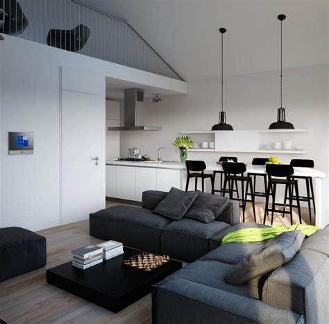 canapé noir angle salon salle à manger 2 en 1 déco pour les espaces ouverts