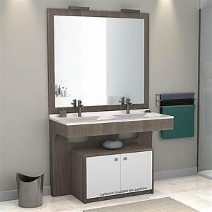 Meuble Vasque Double : salle de bain meuble salle de bain pmr ensemble complet prix discount ~ Teatrodelosmanantiales.com Idées de Décoration