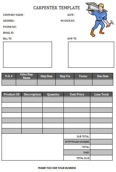 images  carpenter invoice templates