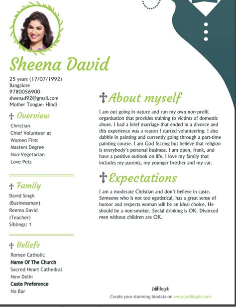 christian marriage biodata format sles for