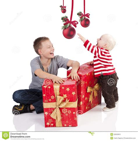 christmas baby boy with gift box with brother stock photo image 22053810