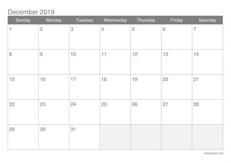 december  printable calendar icalendarsnet
