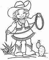 Cowgirl Coloring Printable Barbie West Outline sketch template