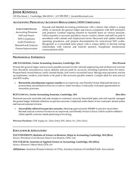 resume exles for senior accountant exle senior accounting associate resume free sle