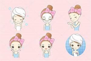 cartoon skin care woman — Stock Vector © etoileark #126749134