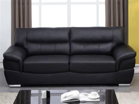 promo canape cuir canapé 3 places en cuir thibault ii noir uni prix promo