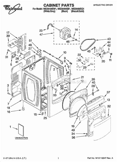 whirlpool residential dryer wed6400sw1 ereplacementparts
