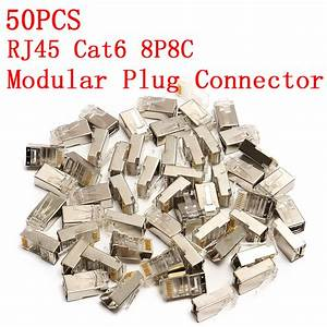 High Quality 50pcs Rj45 Cat6 Connector 8pin 8p8c Shielded