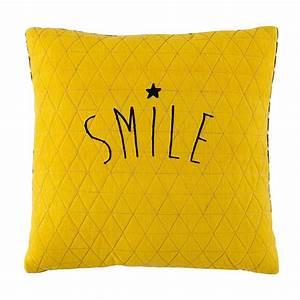 Coussin Gris Et Jaune : coussin jaune gris 40 x 40 cm smile maisons du monde ~ Dailycaller-alerts.com Idées de Décoration