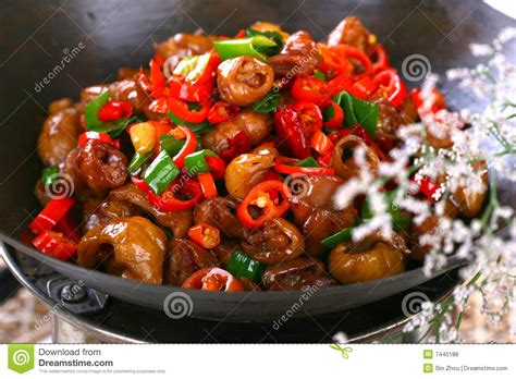 delicious cuisine delicious food fried dish pepper sau stock