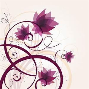 Purple Flowers Swirling Plants - Free Vector