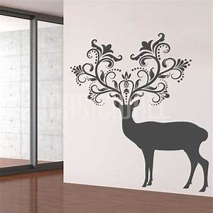 wall decals caribou deer patterned horns animal With deer wall decals