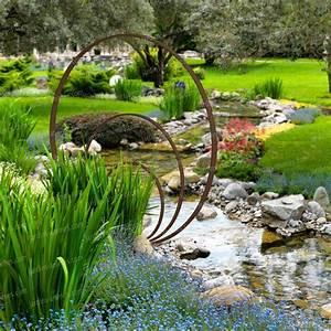 Objet Decoration Jardin : sculpture de jardin ronde anneaux de fer concentriques ~ Premium-room.com Idées de Décoration