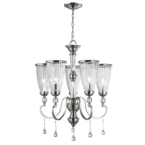 hton bay burbank 5 light brushed nickel chandelier