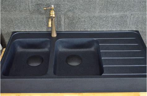 evier de cuisine noir 120x60 évier granit noir de cuisine en 2 cuves
