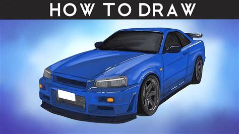 How To Draw Nissan Skyline R34 Gtr Step By Step Youtube