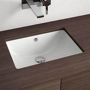 Vasque a encastrer par dessous rectangulaire 46x34 cm for Salle de bain design avec vasque a encastrer par le dessous