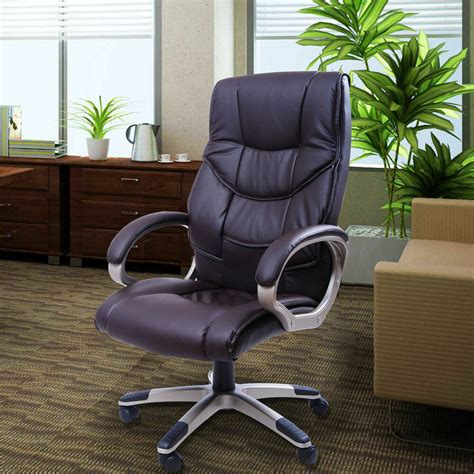 luxury computer office desk chair pu leather high back