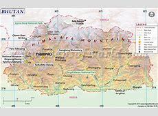 Bhutan Map, Map of Bhutan