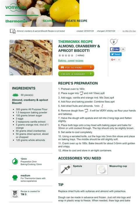 Apricot and almond biscotti are so delicious with sweet apricots and lightly roasted almonds. Almond, apricot and cranberry biscotti | Thermomix recipes ...