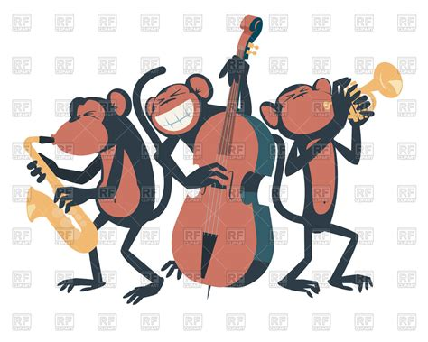 Three Monkey-musicians Are Playing Jazz