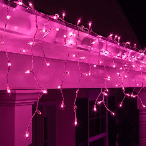 christmas icicle light  purple icicle lights white wire