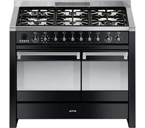 buy smeg opera 100 cm dual fuel range cooker black free delivery currys