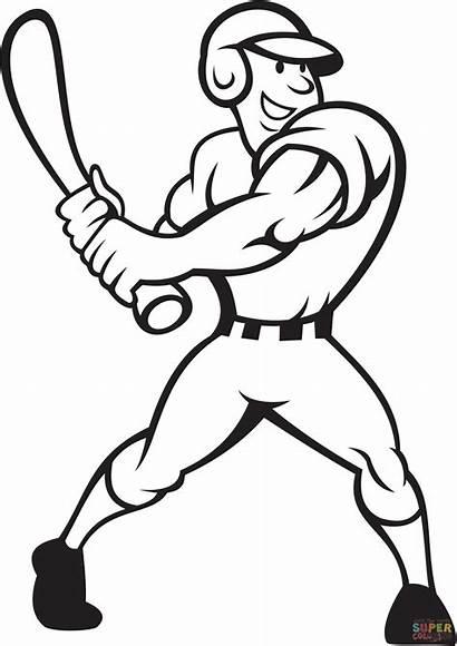 Coloring Baseball Player Pages Batting Side Main