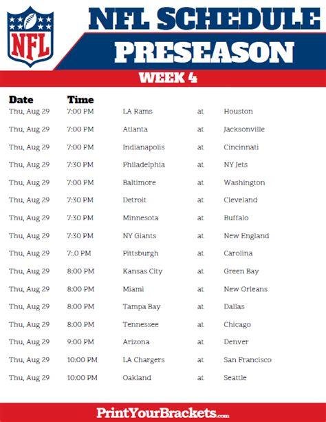 printable  nfl preseason schedule