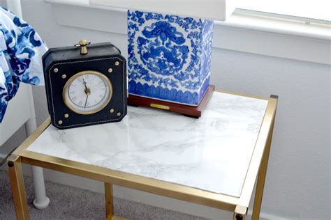 diy gold  faux marble nightstand    beauty