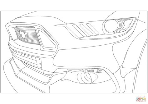 Ford Mustang Front Veiw Coloring Page Free Printable