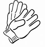 Gloves Coloring Pages Winter Clipart Clothes sketch template