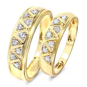 1 carat wedding ring sets 1 3 carat t w his and hers wedding band set 10k yellow gold my trio rings wb137y10k