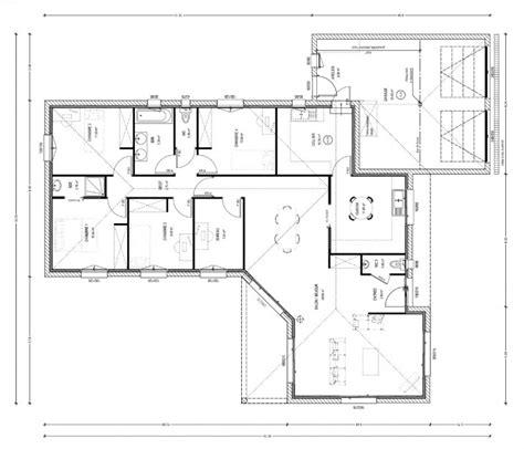 plan de maison plain pied 4 chambres gratuit exemple plan maison 4 chambres