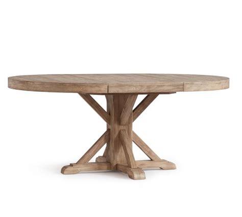 benchwright extending pedestal dining table seadrift