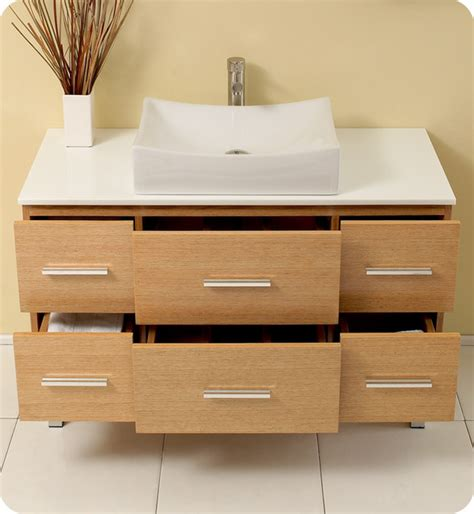 single vanity cabinet with vessel sink 43 5 quot distante single vessel sink vanity natural wood