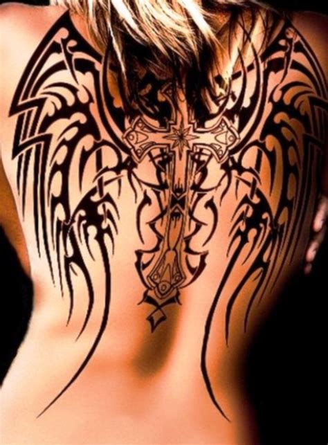 Tribal Tattoo Meaning Angel Wings And Cross Designs On