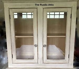 Double, Door, Cabinet, Painted, U0026, Distressed, Or, Stain, Finish, W, Glass, Inserts