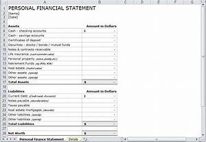 Excel Amortization Personal Financial Statement Template Personal Financial