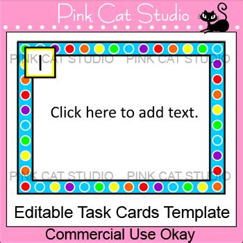 task cards template polka dot rainbow theme editable